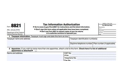 Tax form 8821 required for invoice factoring.